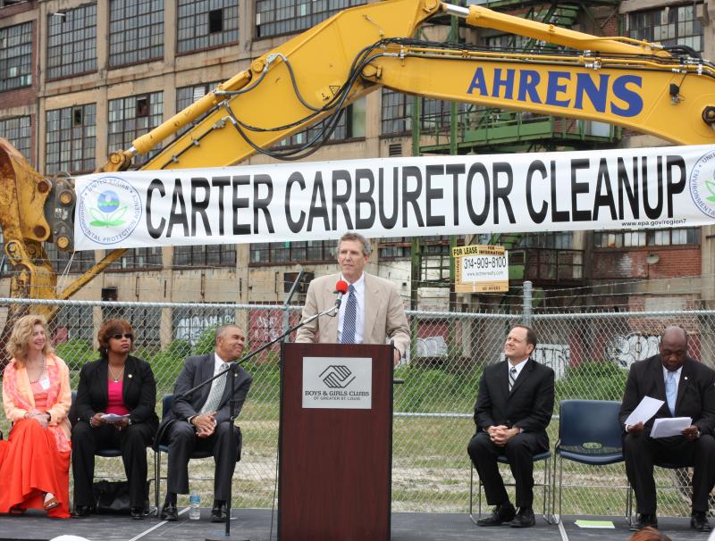EPA Regional Administrator Karl Brooks (at podium) speaks at the Carter Carburetor announcement in St. Louis on July 29, 2013.