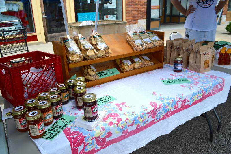 Jams and chips for sale at the North City Farmers Market.