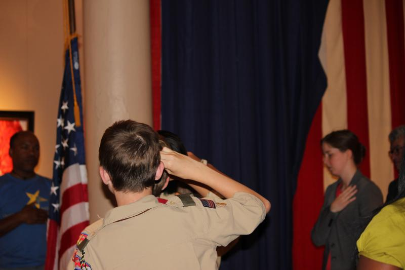 Boy Scout Troop 685 participates in the advancement of the colors during a naturalization ceremony in the Old Courthouse in St. Louis, Mo.