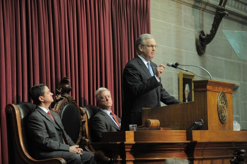 (l-r) Mo. House Speaker Tim Jones (R, Eureka), Lt. Gov. Peter Kinder (R) & Gov. Jay Nixon (D) at the 2013 State of the State Address.