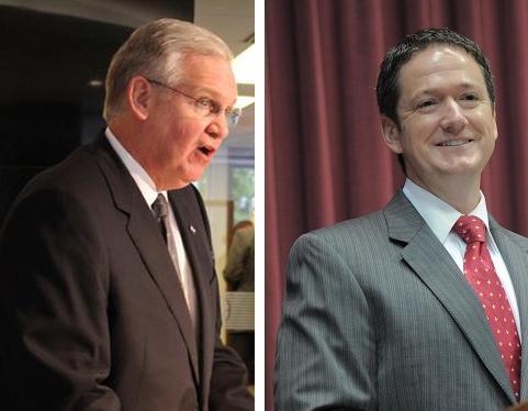 Democratic Gov. Jay Nixon (left) and Speaker of the House Tim Jones (right)