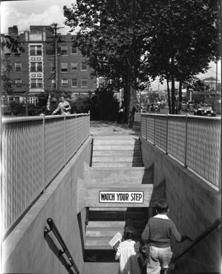 Pedestrian underpass in the 1930s. They were built to allow students safe passage to school, avoiding the traffic of street cars and automobiles.