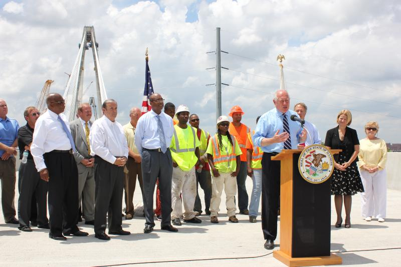 Ill. Governor Pat Quinn visits the Stan Musial Veterans Memorial Bridge in East St. Louis July 15, 2013. The bridge is scheduled to open March 2014.