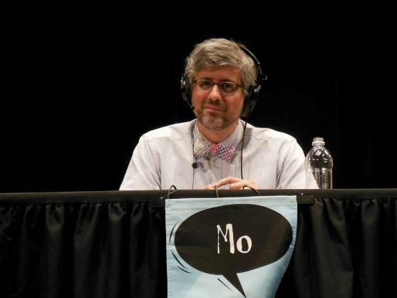 "Mo Rocca appears as a panelist on ""Wait Wait...Don't  Tell Me"" before a live audience at Powell Hall in St. Louis on June 27, 2013."