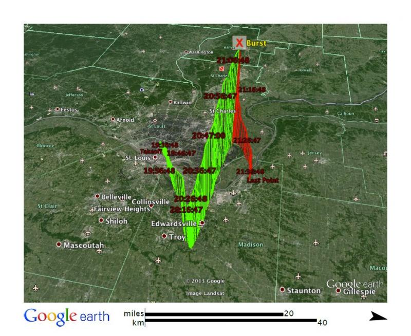 This Google Earth map shows the trajectory of the weather balloon SLU launched on Thursday, August 8. The balloon burst north of Florissant, at an altitude of 116,447 feet. It landed in Alton, Illinois, about two and half hours after launch.