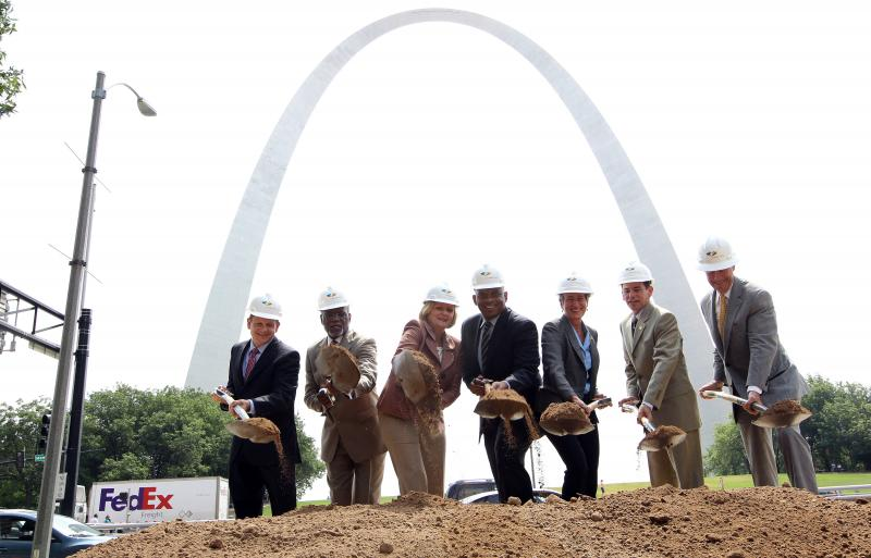 Dignitaries break ground Aug. 2 on the 'Park over the Highway' project, the first component in the CityArchRiver 2015 plan to revamp the Arch grounds.