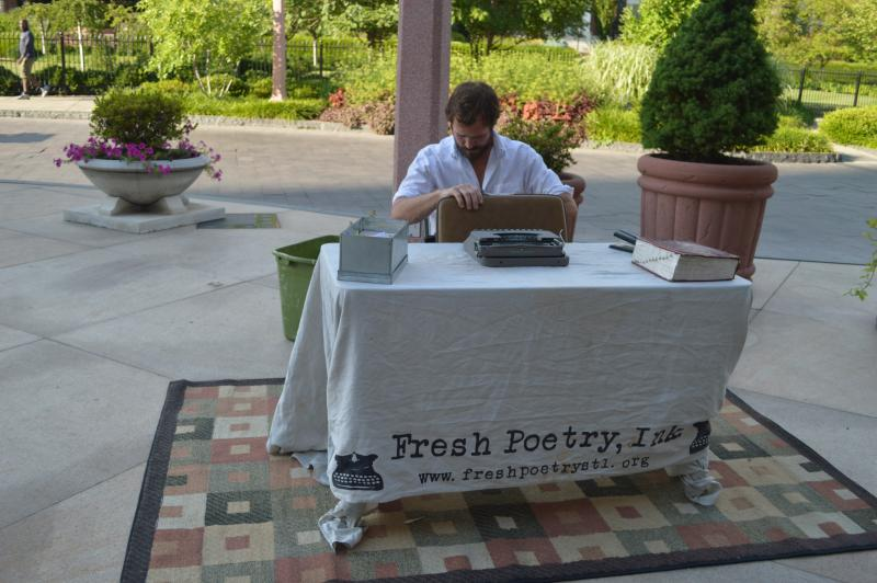 Goldkamp sets up his mobile office, Fresh Poetry Ink, in the Central West End.