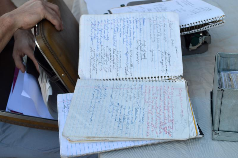 Goldkamp comes prepared with notebooks of various thoughts and poems.