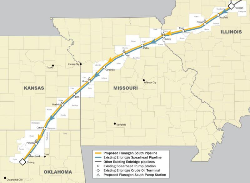 Enbridge is proposing to build the Flanagan South Pipeline, a nearly 600-mile, 36-inch diameter interstate crude oil pipeline that will cross through parts of Illinois, Missouri, Kansas, and Oklahoma.