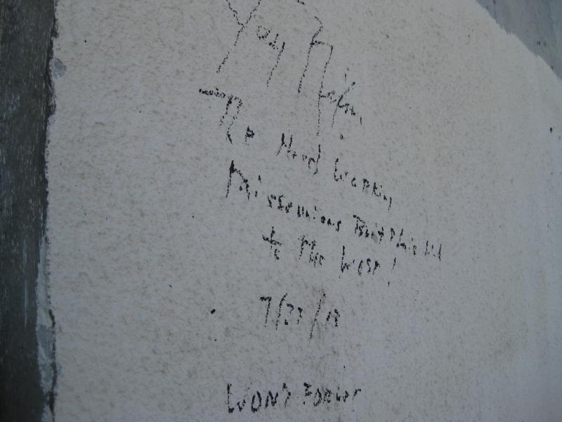A message from Missouri Governor Jay Nixon on the Missouri tower of the bridge. Nixon wrote this on July 27, the day after workers laid the final girder into place. The message will eventually be painted over.