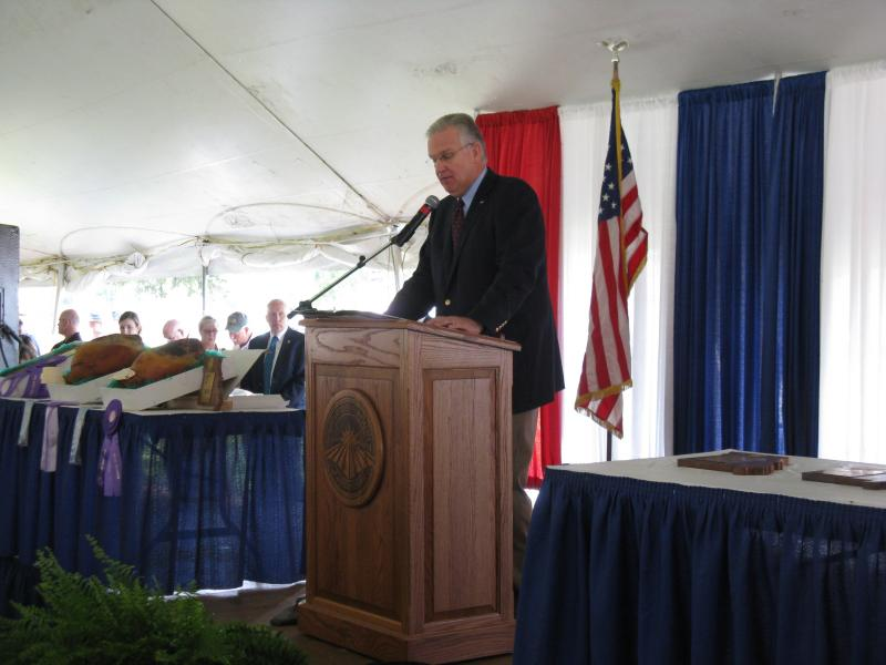 Gov. Jay Nixon (D) addresses the crowd at the annual Governor's Ham Breakfast at the Mo. State Fair on Aug. 15, 2013.