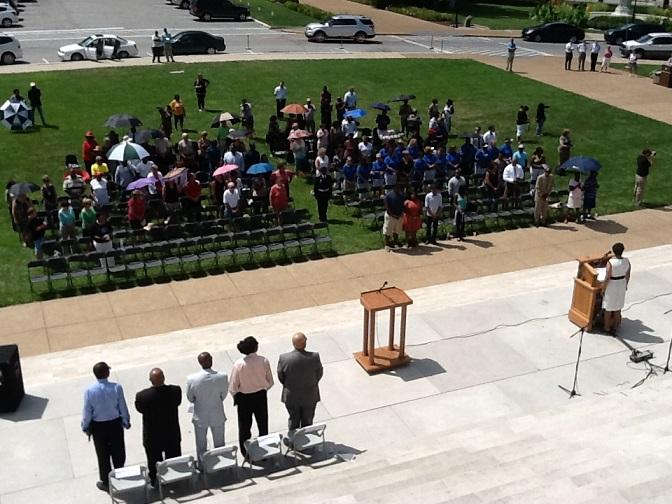 "A ceremony on the South Lawn of the Mo. Capitol on Aug. 28, 2013, commemorates the 50th anniversary of Martin Luther King's ""I Have a Dream"" speech."