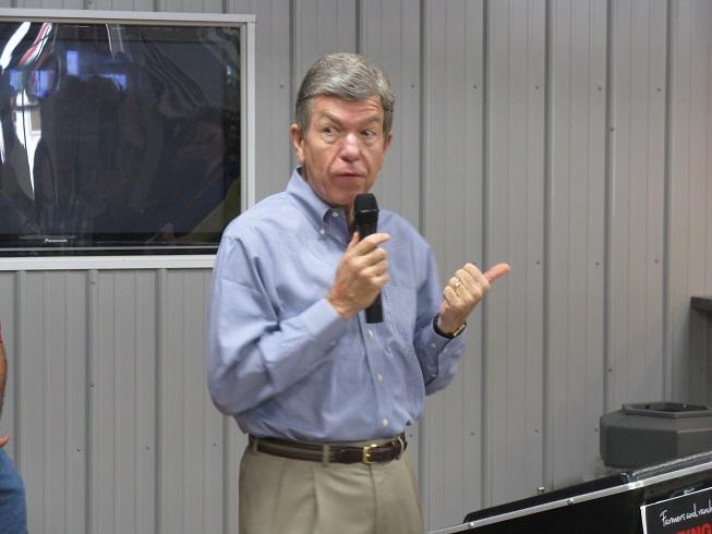 Mo. U.S. Senator Roy Blunt (R) addresses Farm Bureau members and the media at the 2013 Mo. State Fair on Aug. 15, 2013.