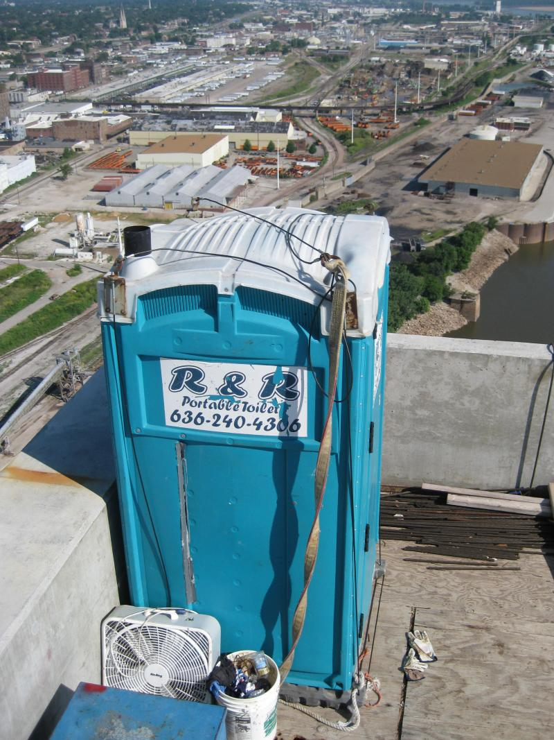We're not totally sure, but we're pretty certain this is one of the highest portable toilets in the St. Louis region.
