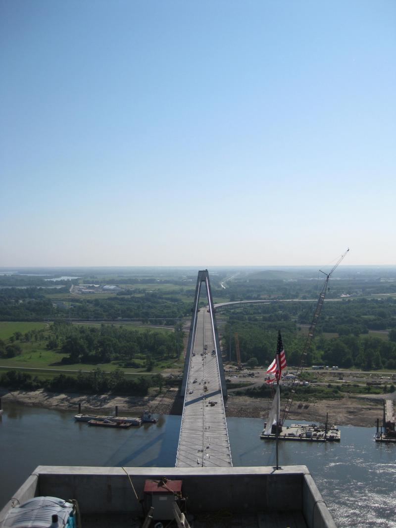 A view of the Illinois side of the Mississippi River from more than 400 feet above the river.