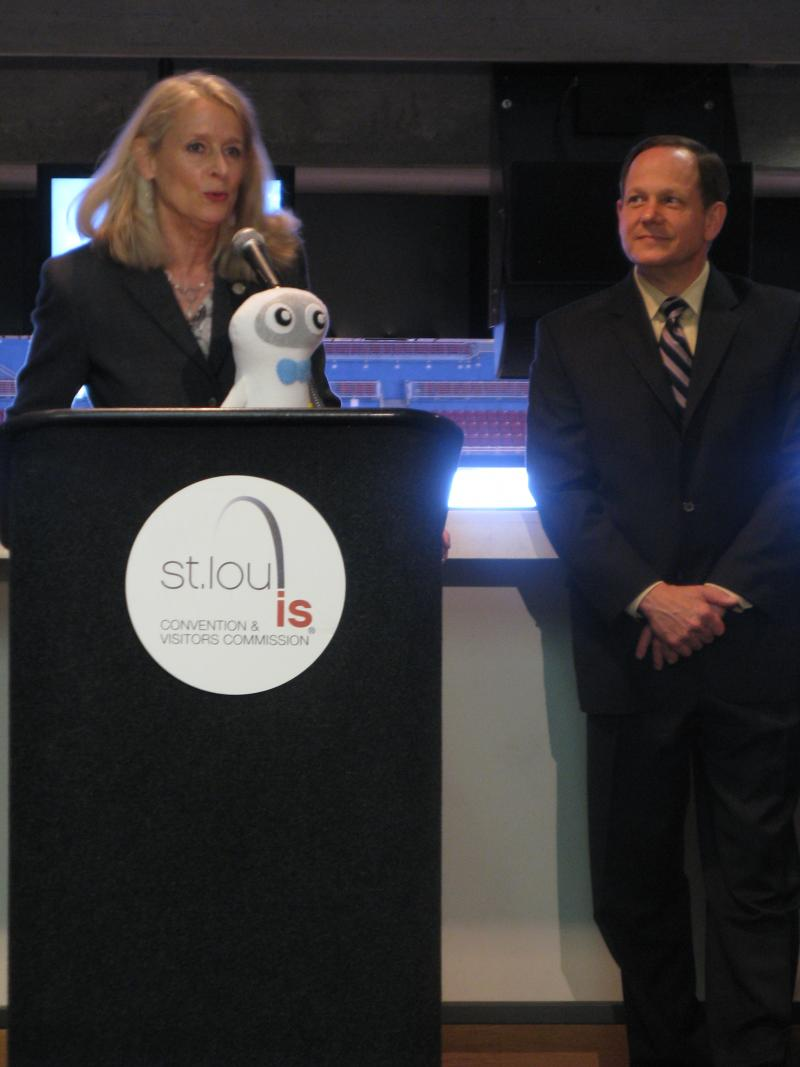 CVC President Kitty Ratcliffe and Mayor Francis Slay announce FIRST's decision to keep the robotics championship in St. Louis.