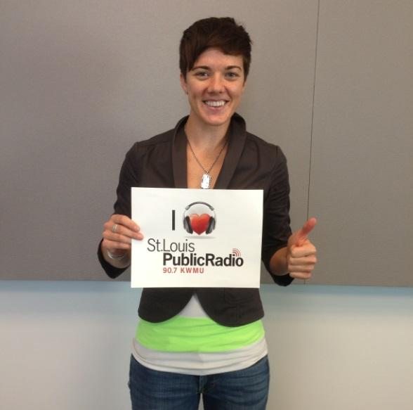 Karin Bliznik in the St. Louis Public Radio Studio