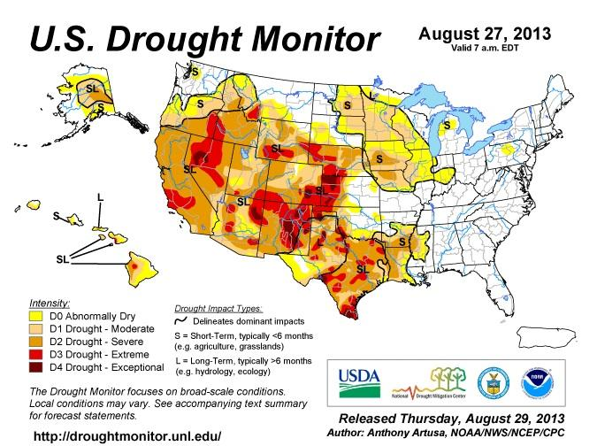 The latest U.S. drought monitor map, as of Aug. 27, 2013.