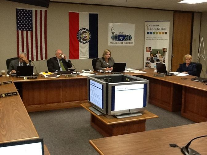 The Mo. State Board of Education meets on Oct. 22, 2013.  They chose to take no action on a request to consider reclassifying the K.C. School District, which has been unaccredited since Jan. 2012.