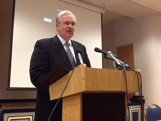 Mo. Gov. Jay Nixon (D) speaking to K-12 education officials in Jefferson City on Oct. 23, 2013.
