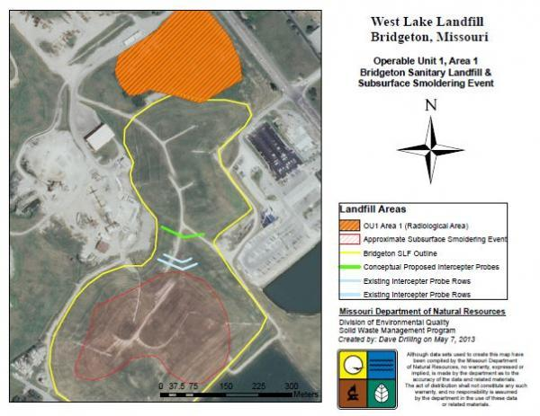 This map from May, 2013, shows part of the West Lake Landfill in Bridgeton. The underground fire is shaded in red, the radioactive waste in orange. The 1993 fire was in the north quarry, closer to the radioactive waste.