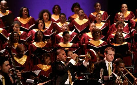 A close up of a performance of Abyssinian: A Gospel Celebration