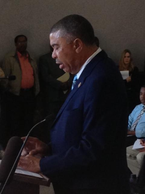 Congressman William Lacy Clay Jr. testifying at a hearing on the NorthSide project on October 8, 2013.