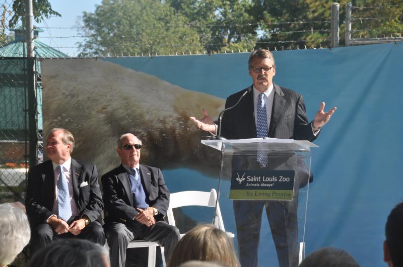 President of the Saint Louis Zoo Jeffrey Bonner, Ph.D. (at podium) announces features of the new exhibit.