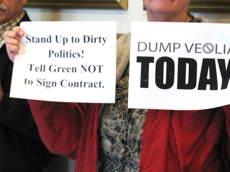 Some of the signs protestors held outside the Board of Aldermen on October 18, 2013.