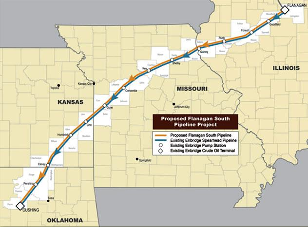 The planned route of the new Flanagan South Pipeline will stretch through eight Illinois and 11 Missouri counties.