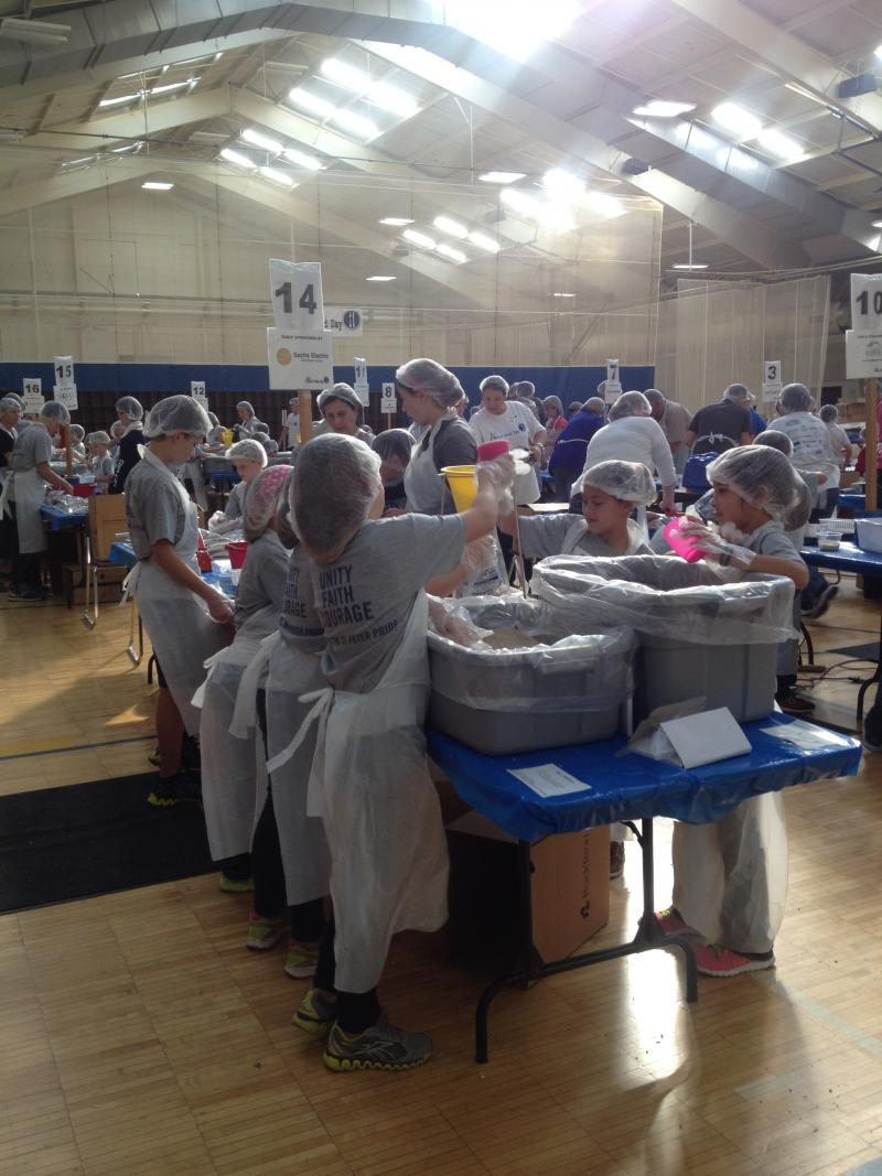 People volunteered in one hour shifts with nonprofit St. Louis World Food Day.