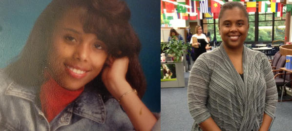 Lisa Thompson, at left, as a senior in high school, and, at right, today. Thompson transferred to the Parkway School District from a St. Louis parochial school as an eighth grader in the mid-1980s.