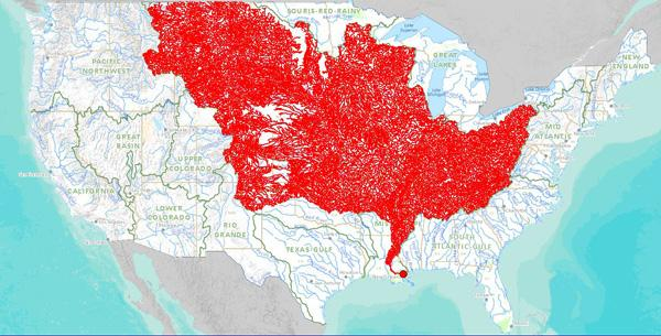 A screenshot of the Mississippi River watershed from the stream mapping tool created by the Department of the Interior.