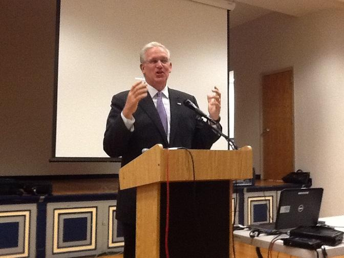 Mo. Gov. Jay Nixon (D) speaking to Higher Education officials in Jefferson City on Oct. 21, 2013.