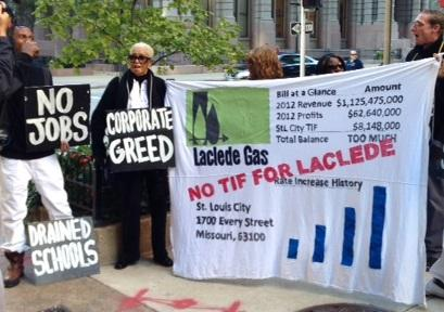 MORE protests outside Laclede Gas headquarters on Monday.