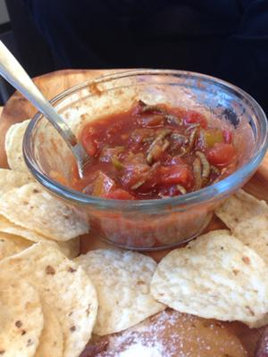 A close up of the meal worm salsa.
