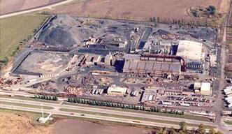 Aerial view of the former Chemetco secondary copper smelter in Hartford, Illinois.