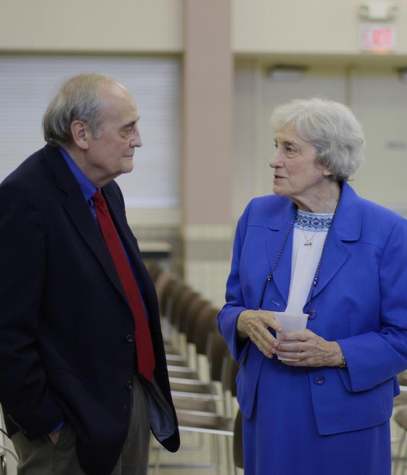 Nuclear industry critic Robert Alvarez speaking with Kay Drey, a local anti-nuclear activist.