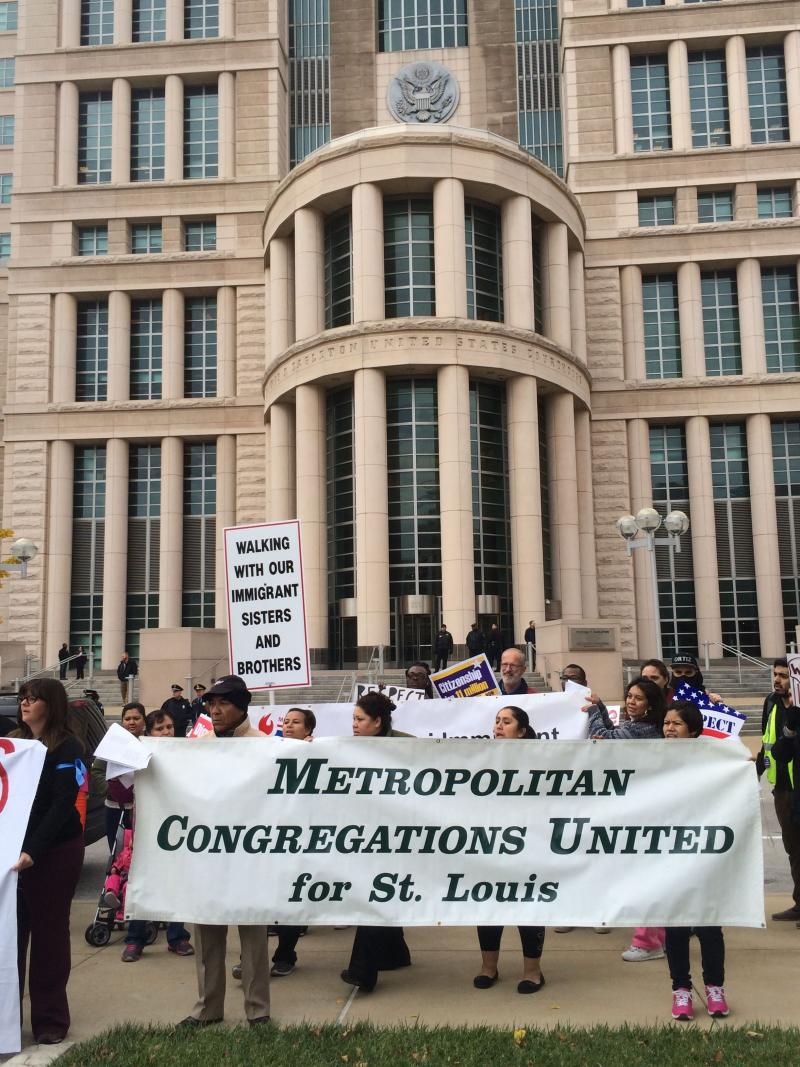 The crowd of nearly one hundred protestors included St. Louis area faith leaders, immigrants, and immigration advocates.