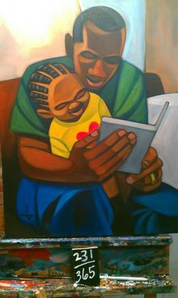 "Painting 231 titled ""The Good Part"" in Cbabi Bayoc's series ""365 Days With Dad"""