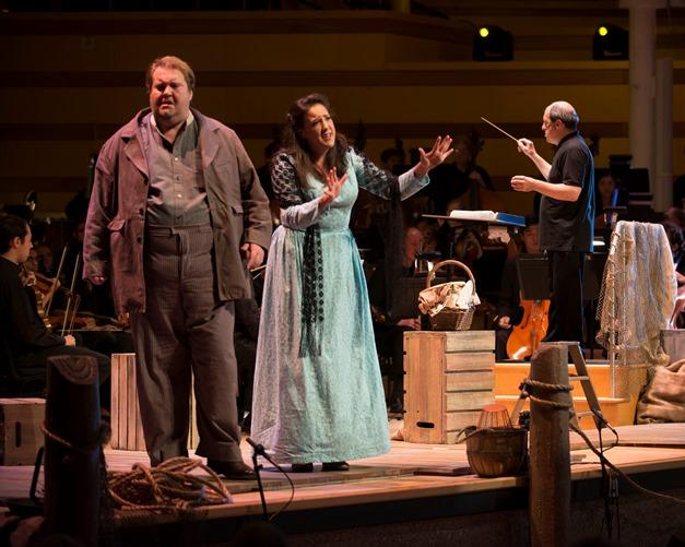 "Anthony Dean Griffey and Susanna Phillips in a semi-staged performance of ""Peter Grimes"" at the Aspen Music Festival on July 27, 2013"