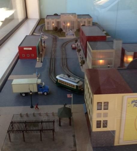 A model of what the Loop Trolley might look like is displayed for passers-by at Blueberry Hill, which is owned by Joe Edwards.