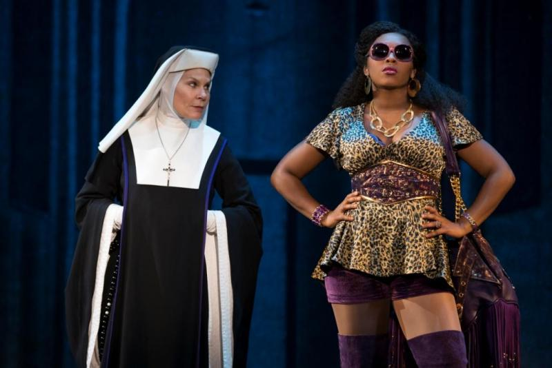 "Hollis Resnik (L) and Ta'Rea Campbell (R) in ""Sister Act"" at the Fox Theatre"