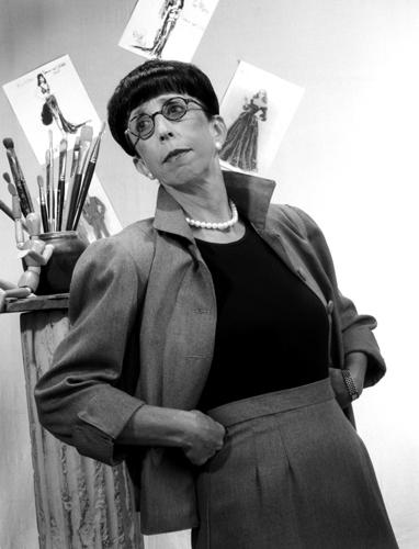 Actress Susan Claassen in the role of costume designer Edith Head.