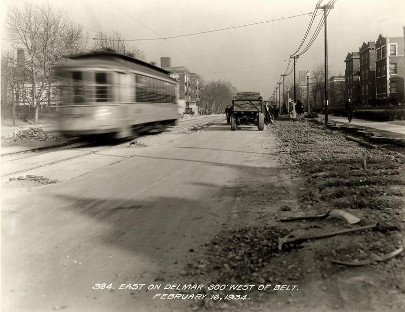 Looking east on Delmar just west of Belt Avenue in 1934. The proposed Loop Trolley will turn south on DeBaviliere Avenue just two blocks west of Belt.