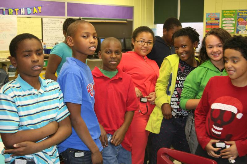 Fifth grade students at Hickey Elementary School with pedometers.