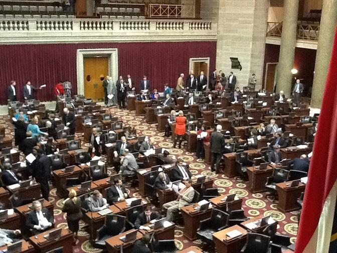 Floor of the Mo. House shortly after the passage of the Boeing incentives bill on Dec. 6, 2013.