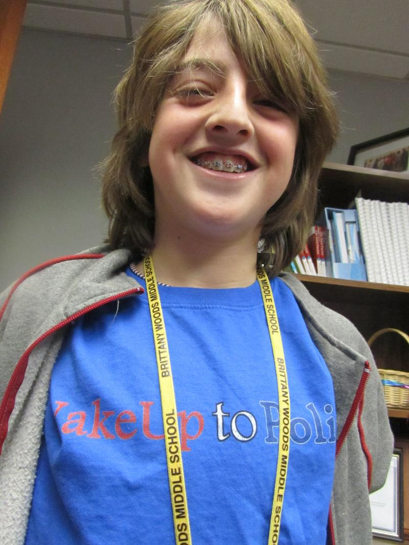 Gabe Fleisher wears his 'Wake Up To Politics' custom-made shirt.