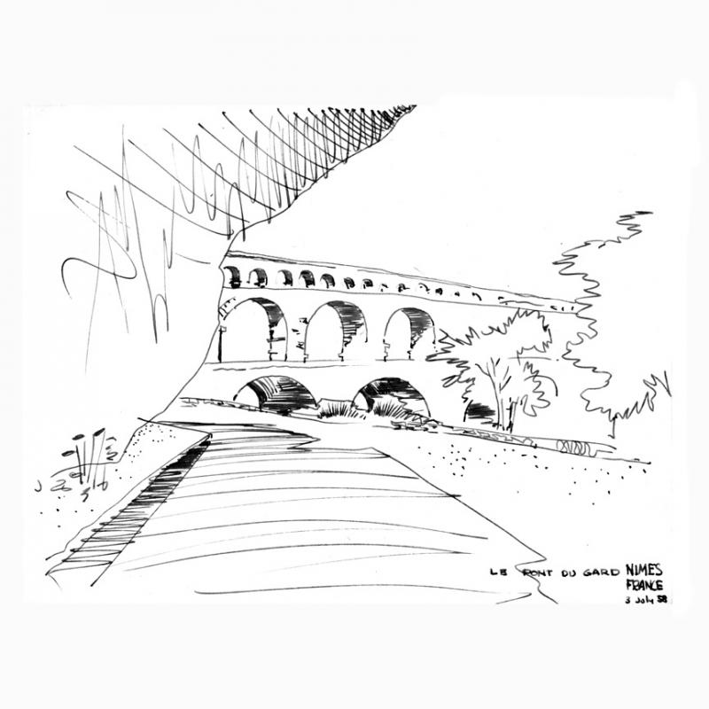 Eugene Mackey Jr. - July 3, 1958 - Le Pont Du Gard