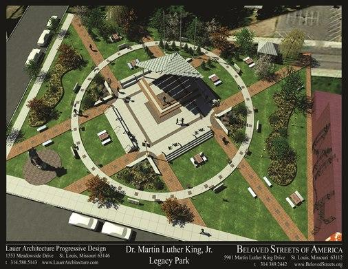 Proposed Dr. Martin Luther King, Jr. Legacy Park aerial view illustration, to be placed at the corner of Hamilton Avenue and Martin Luther King Boulevard.